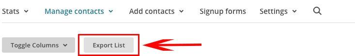adaptar mi lista de MailChimp al RGPD exportar