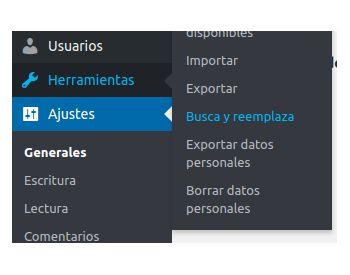 Busca y Reemplaza administrador de WordPress