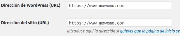 Ruta de instalación del sitio web de mowomo