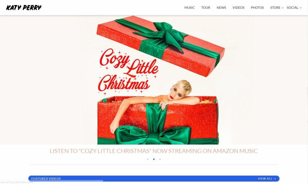 Katy Perry, página web de tipo corporativa hecha con WordPress