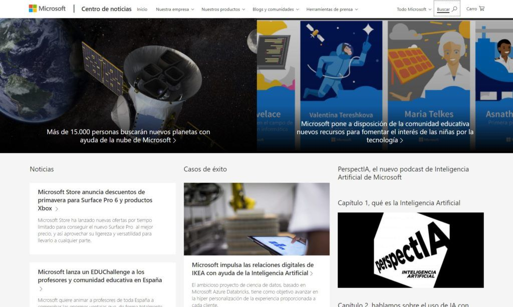 Microsoft News, página web de tipo magazine hecha con WordPress