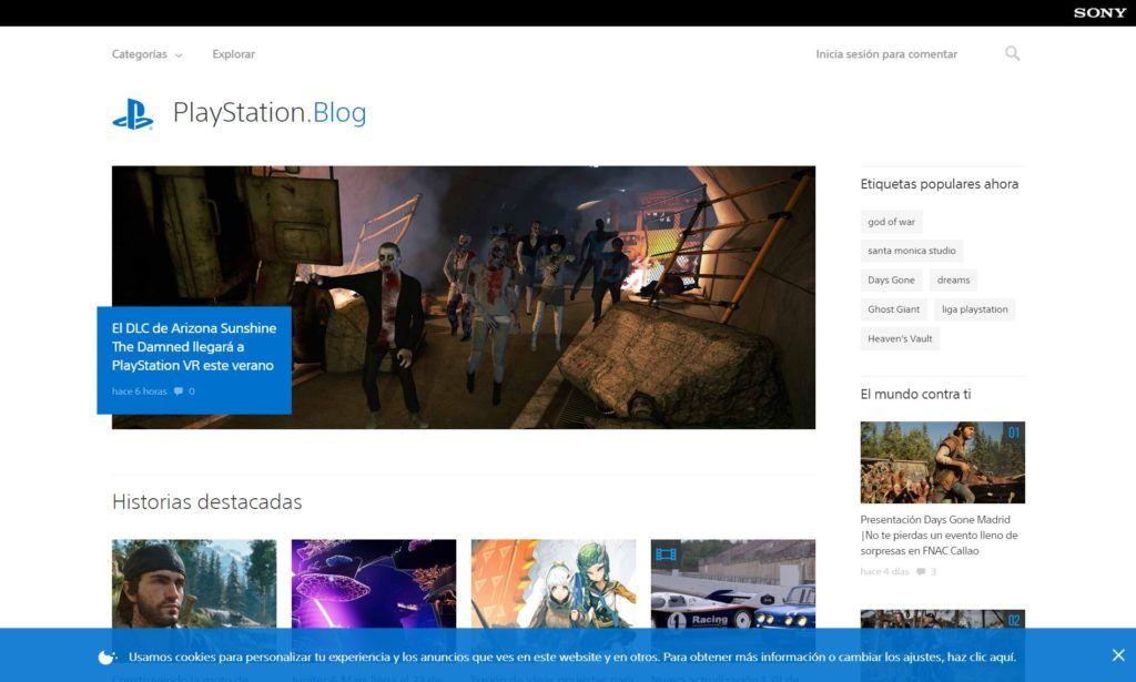 PlayStation Blog, página web de tipo magazine hecha con WordPress