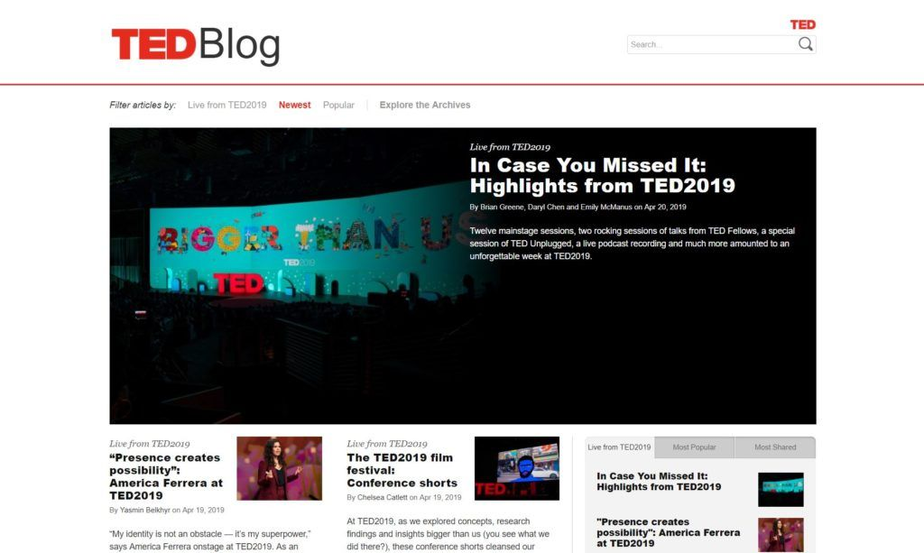 TED blog, página web de tipo blog hecha con WordPress