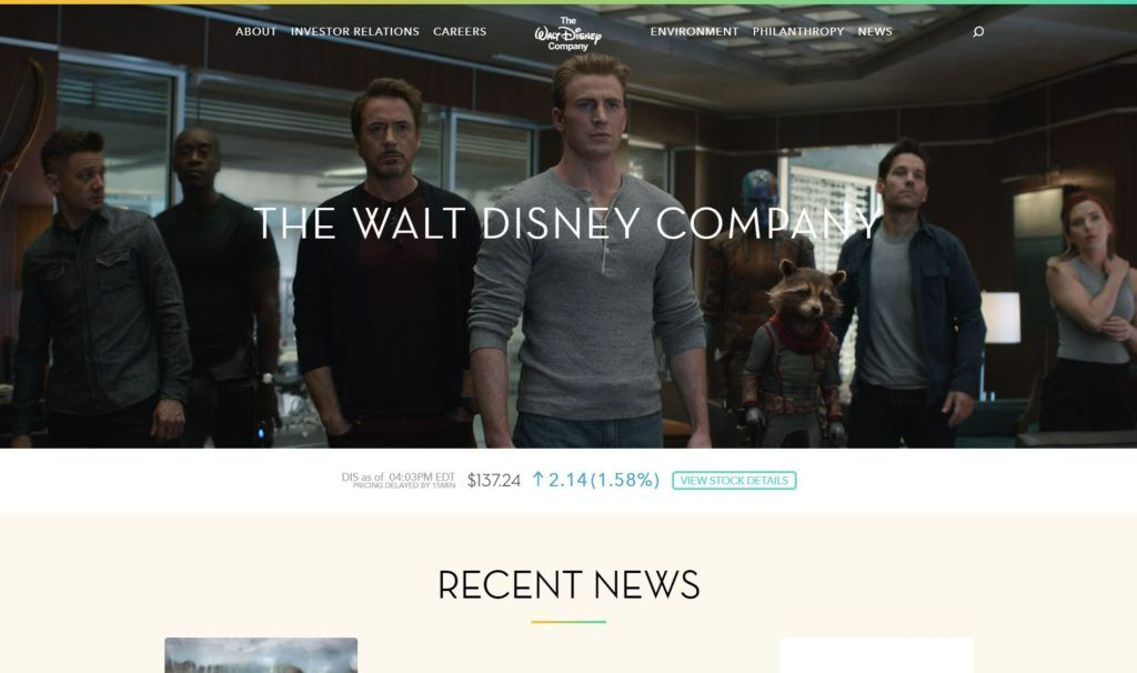 Walt Disney Company, página web de tipo corporativa