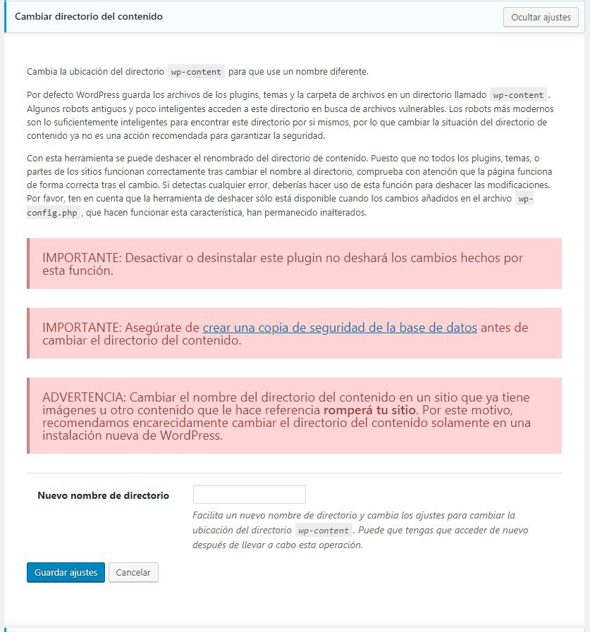 Configurar Ithemes 2019 - cambiar directorio del contenido