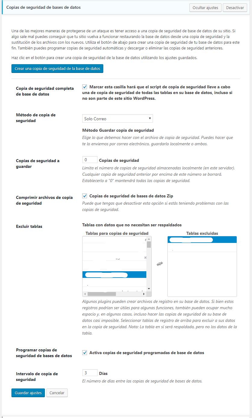 copias de seguridad de bases de datos