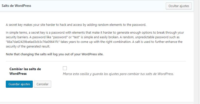 Configurar Ithemes 2019 - salts de WordPress
