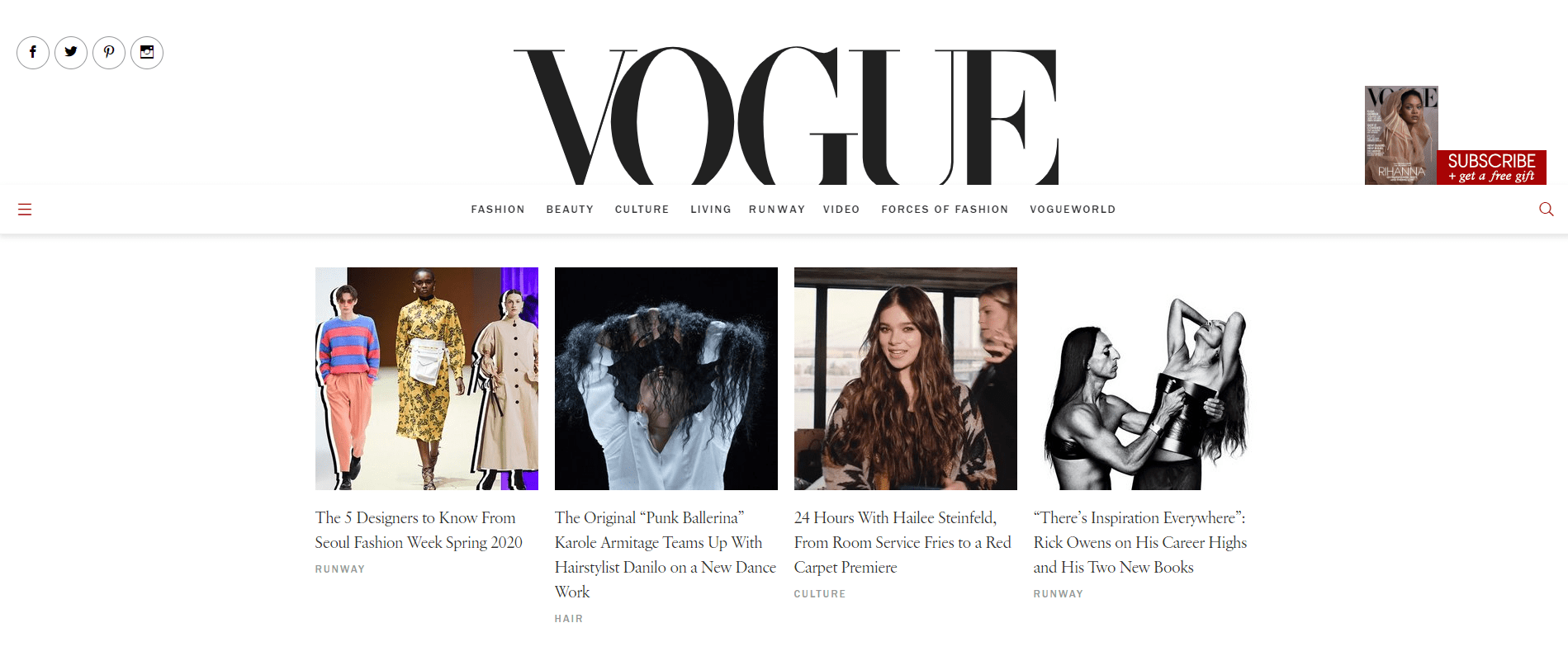 Vogue made with WordPress