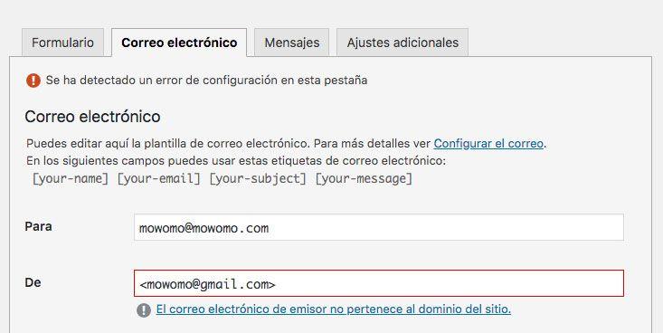 error contact form 7