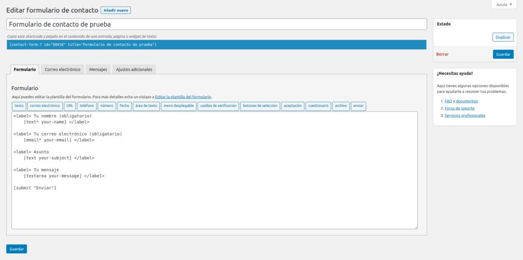 Añadir campos al formulario de contacto