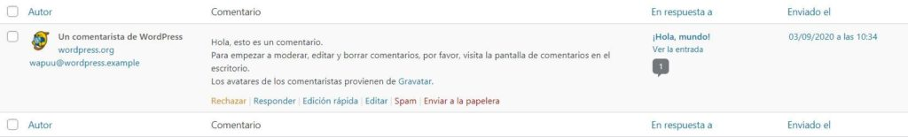 Comentario de WordPress