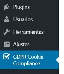 Menú de GDPR Cookie Compliance
