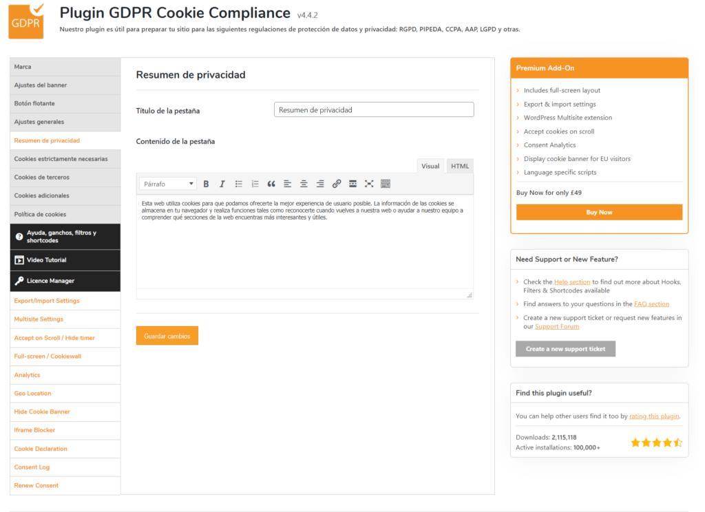 Resumen privacidad de GDPR Cookie Compliance